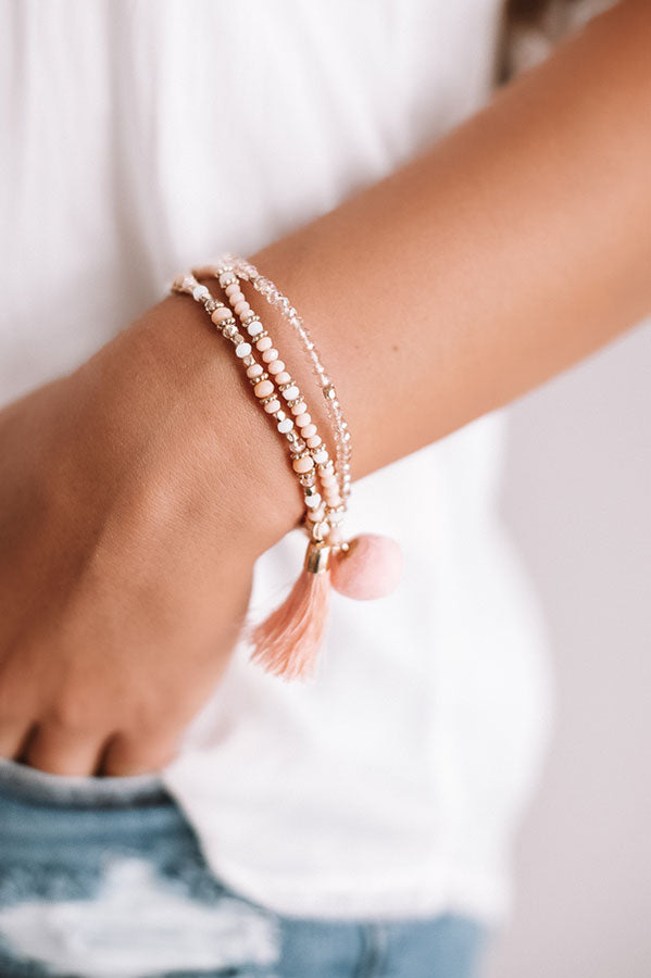 Street Chic Bracelet Set in Peach