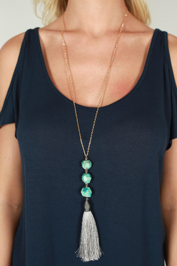 Just A Dream Tassel Necklace in Aqua