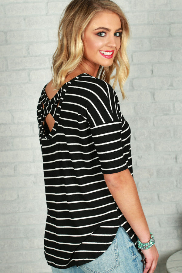 I'm Falling For You Stripe Tee In Black