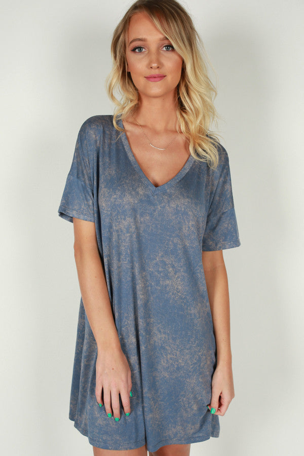 Better Believe It T-Shirt Dress in Blue