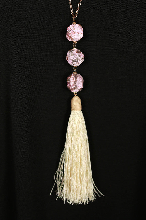 Just A Dream Tassel Necklace in Pink