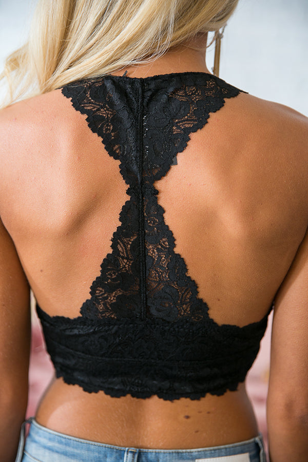 Please Be Mine Racerback Lace Bralette In Black