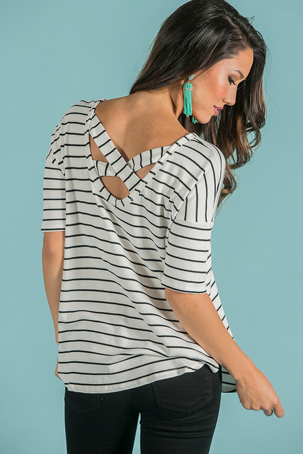 I'm Falling For You Stripe Tee In White