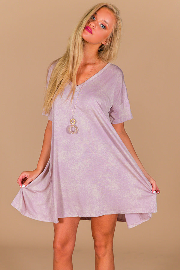 Better Believe It T-Shirt Dress In Dusty Purple
