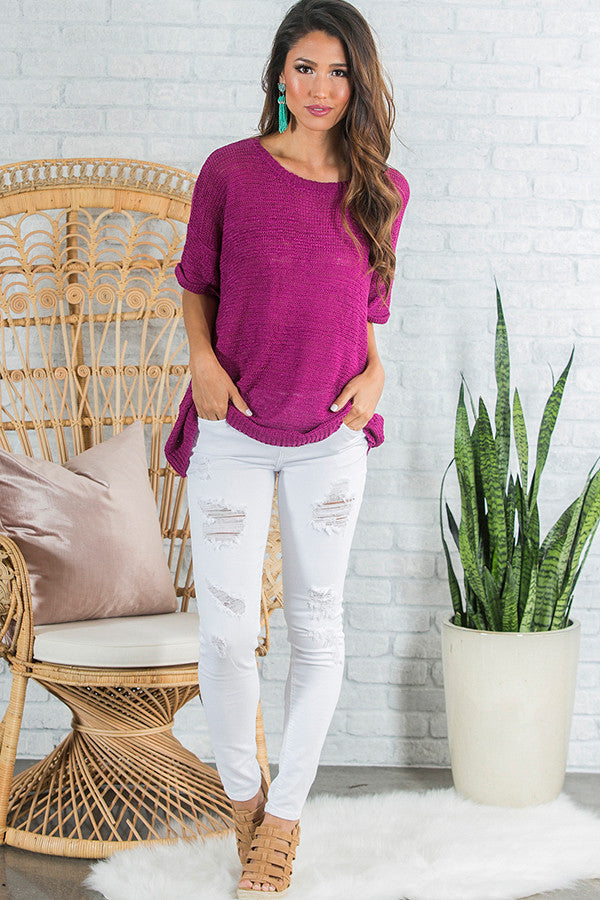 Rose All Day Knit Sweater in Berry