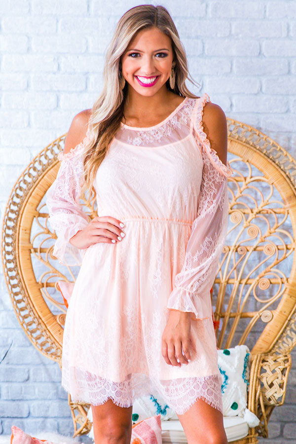 I'll Be Waiting Lace Dress in Peach