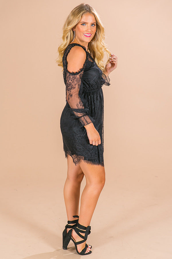 I'll Be Waiting Lace Dress in Black