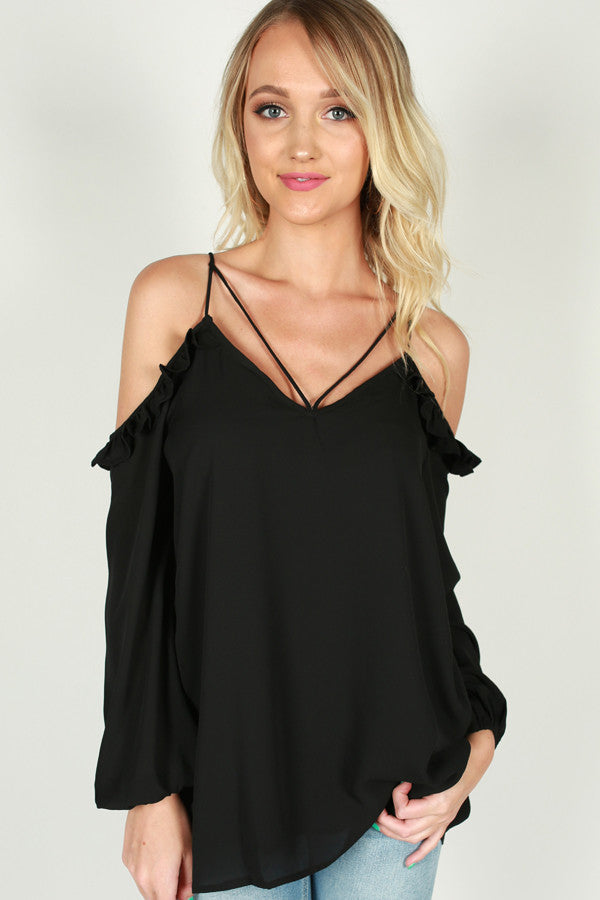 Don't Stop The Music Ruffle Top in Black