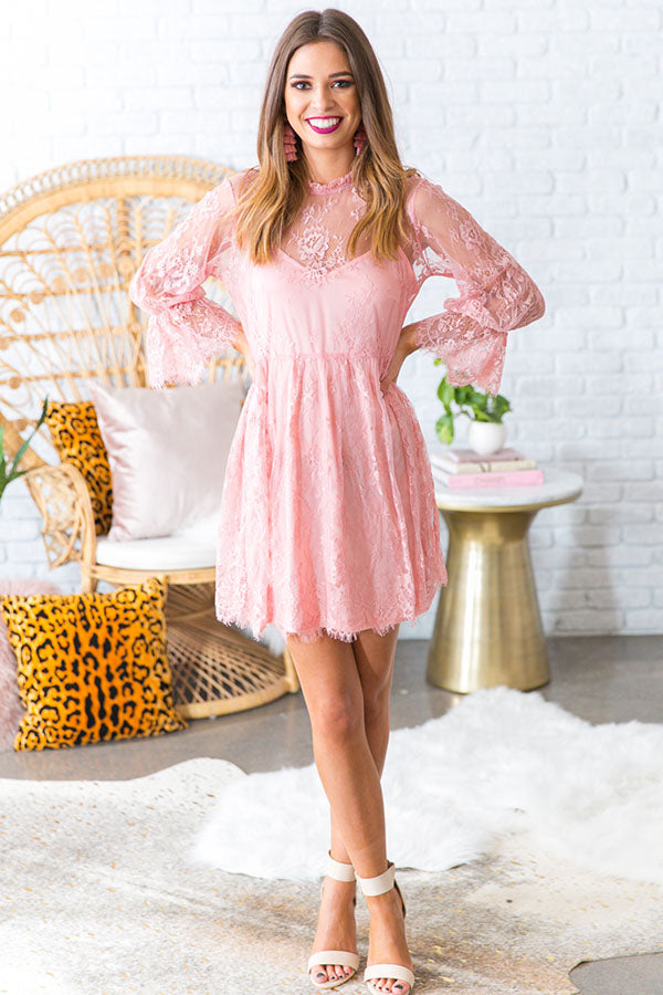 Garden Party Lace Babydoll Dress in Pink