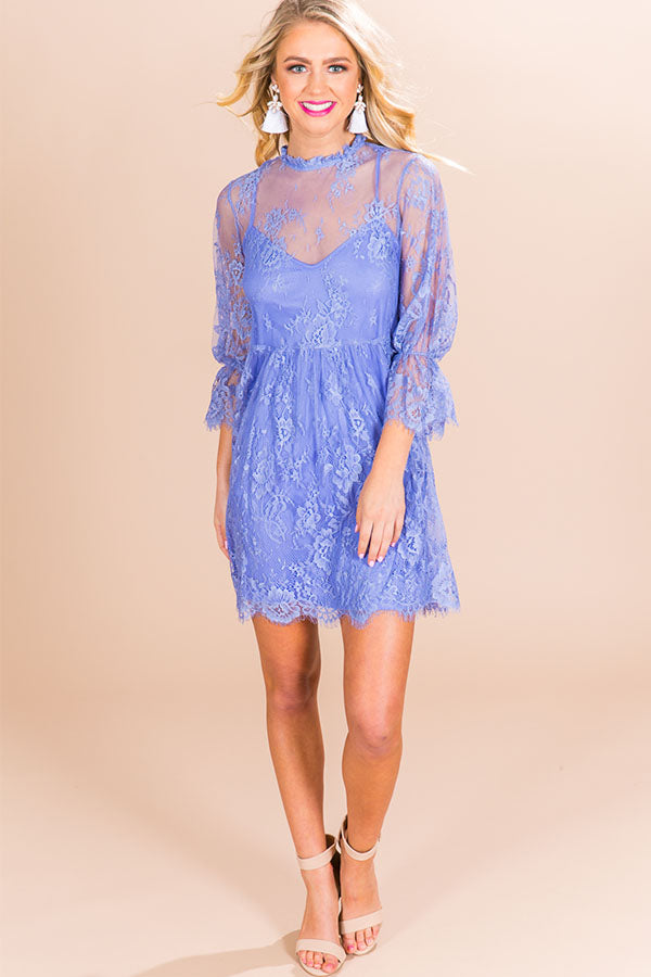 Garden Party Lace Babydoll Dress in Periwinkle