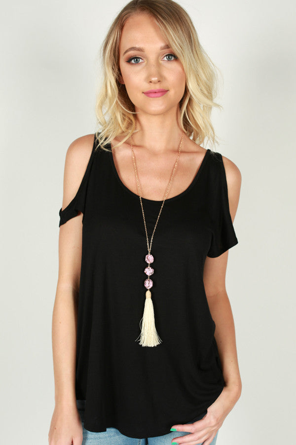 In The Moment Cold Shoulder Tee In Black