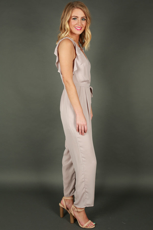 V.I.P Style Jumpsuit in Taupe