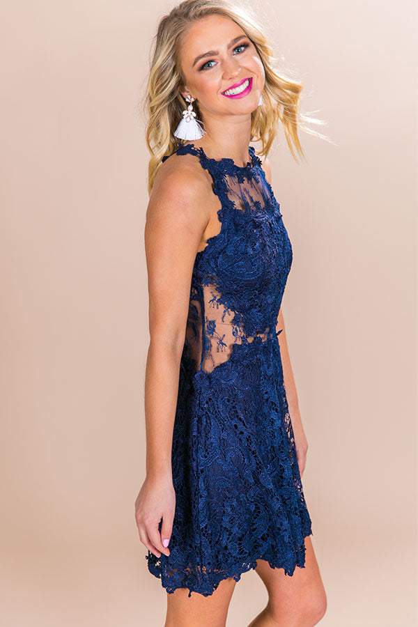 Quick To Stare Crochet Dress in Navy