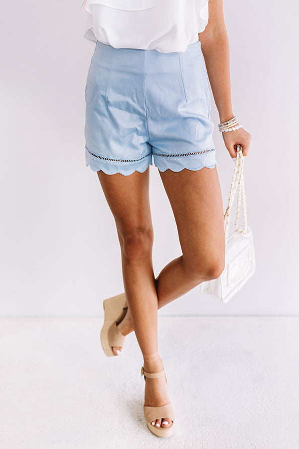 So Stunning Scallop Shorts in Sky Blue