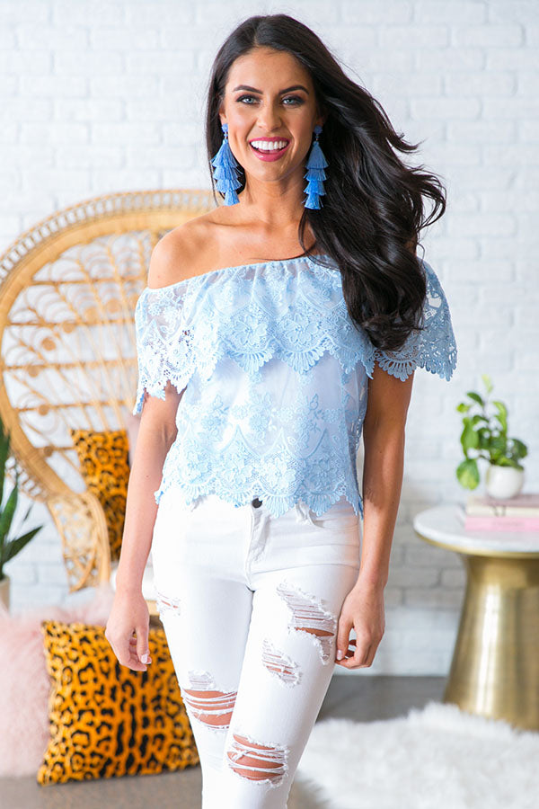 For The Love Of Lace Off Shoulder Top In Sky Blue
