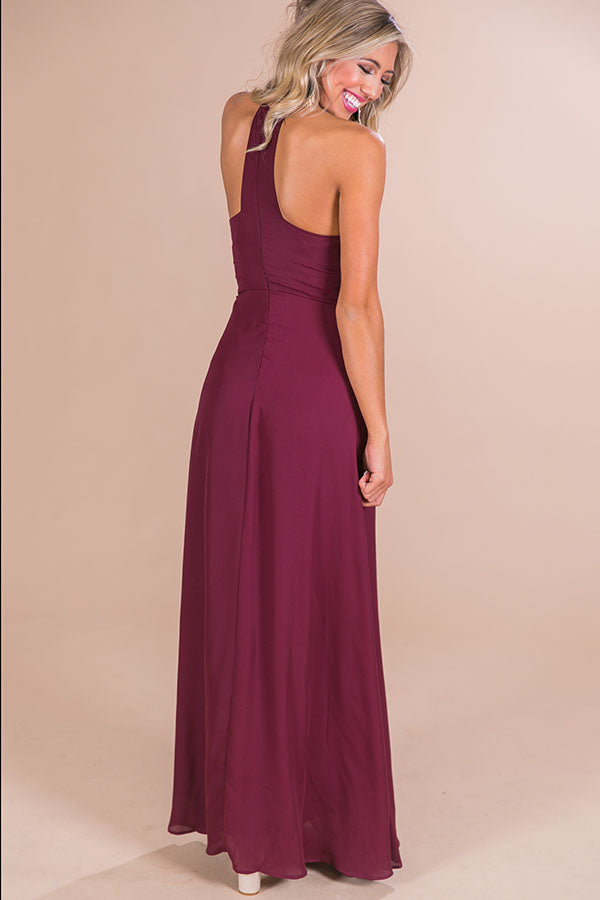 Sunset Ridge Maxi Dress in Maroon