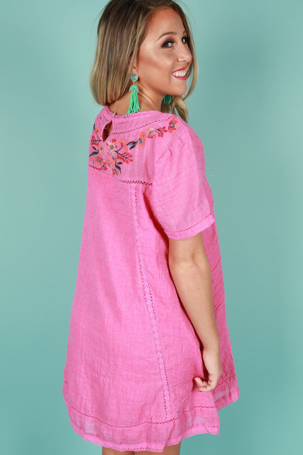 Meet Me In Paradise Shift Dress in Pink
