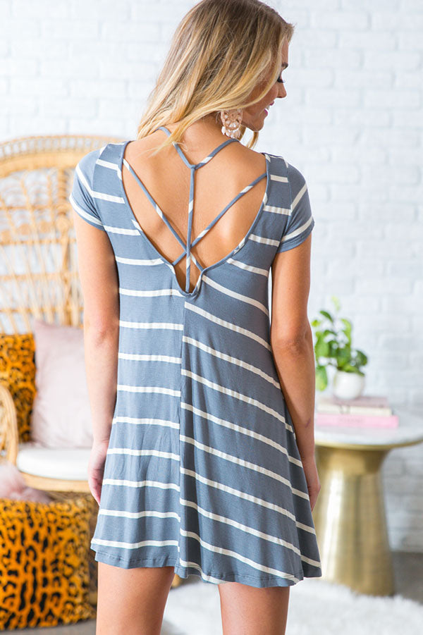 Stunning In Stripes Shift Dress in Grey
