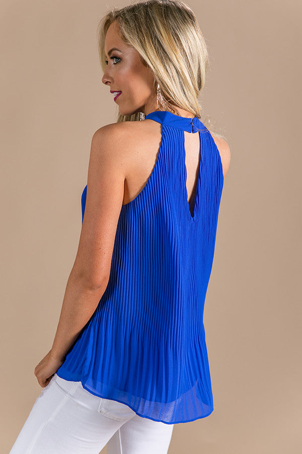 Uptown Vibes Pleated Shift Tank in Royal Blue