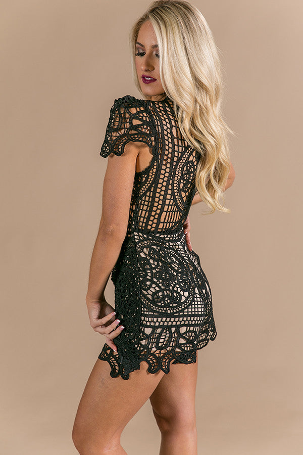 Chic Spotlight Crochet Romper in Black