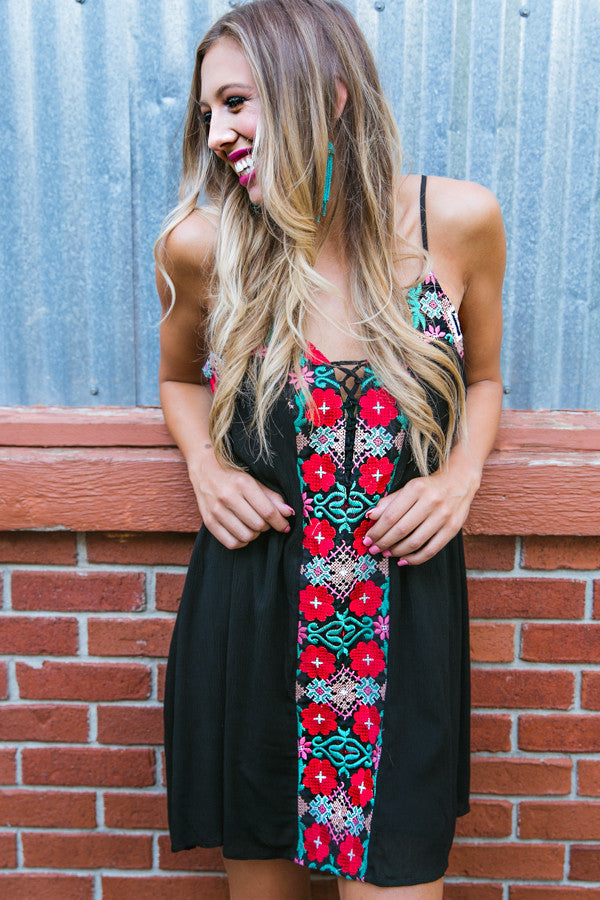 Salsa At Midnight Embroidered Dress