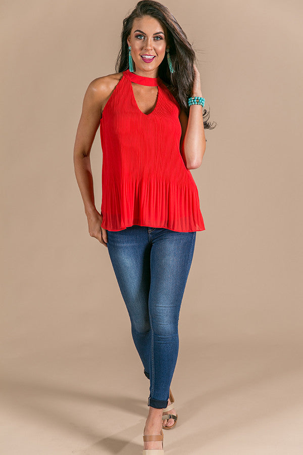 Uptown Vibes Pleated Shift Tank in Red