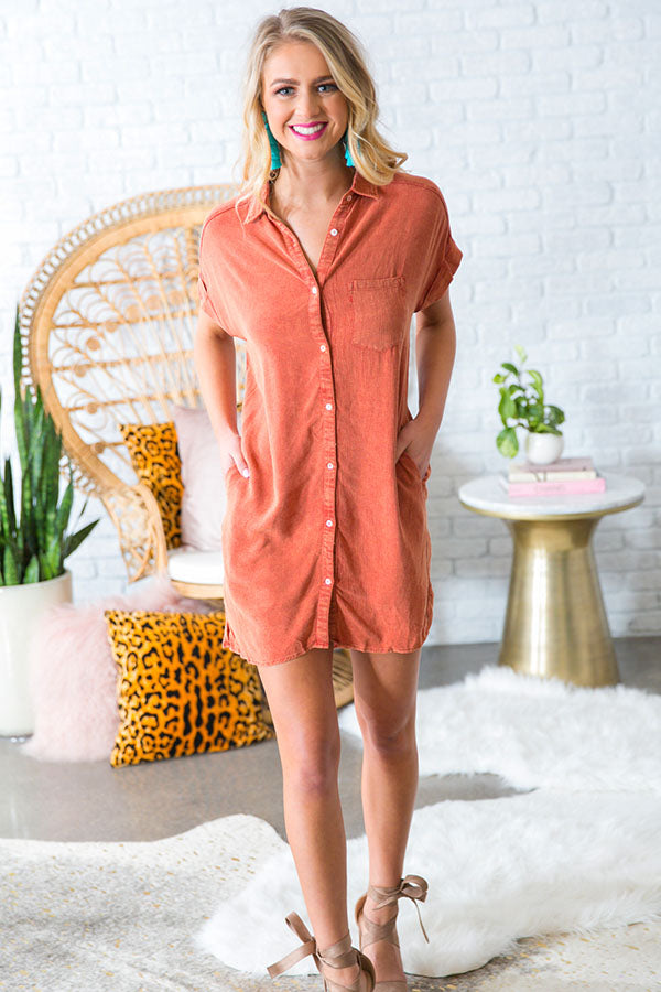 Hit The Road Shift Dress in Rust