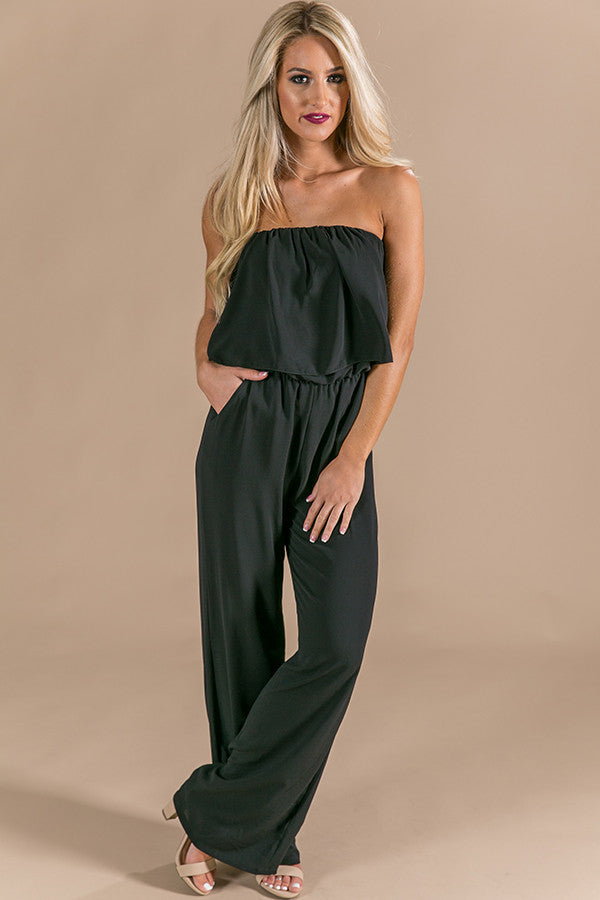Girl's Night Out Jumpsuit in Black