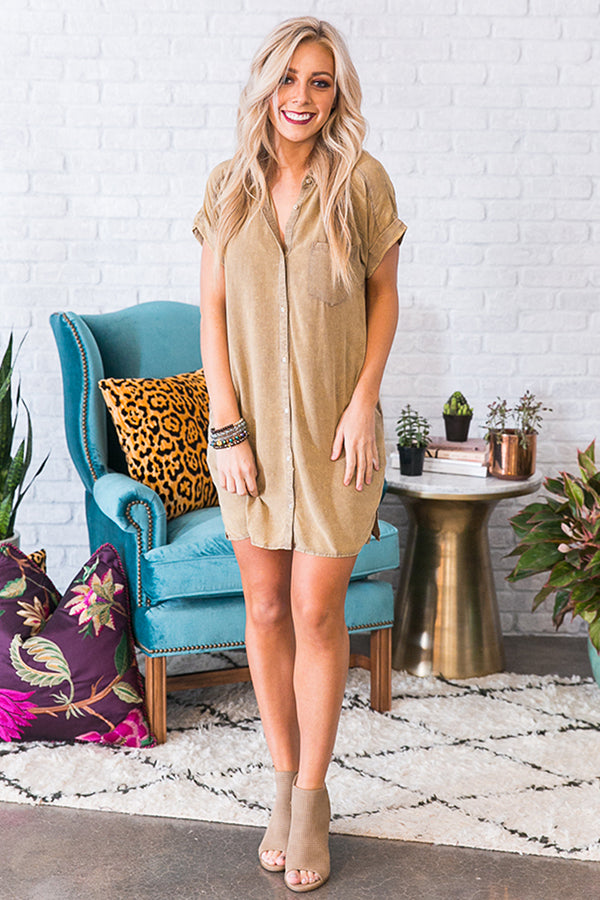 Hit The Road Shift Dress in Sage