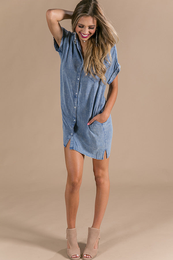 Hit The Road Shift Dress in Blue