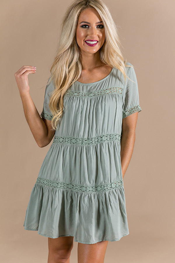 Brunching With Besties Babydoll Tunic Dress in Pear