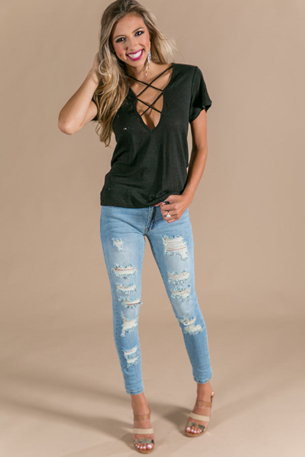 Criss-Cross Casual Distressed Tee