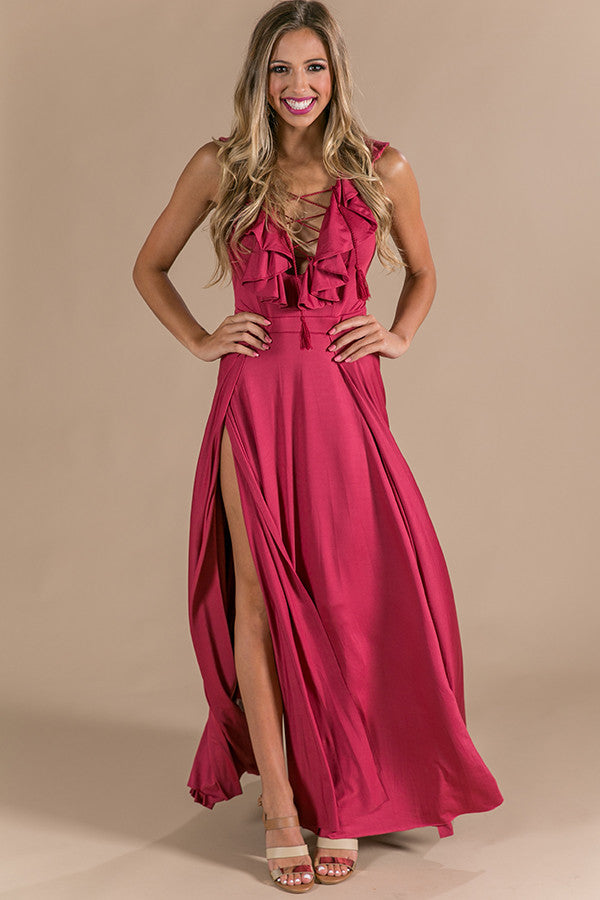 Slow Dance With Me Lace Up Maxi in Crimson