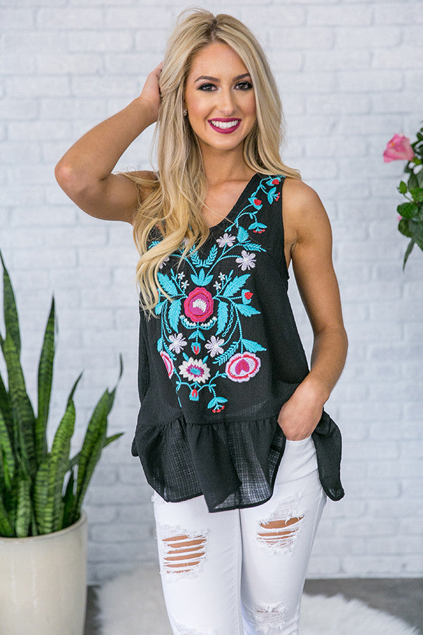 Margaritas At Midnight Embroidered Tank  in Black