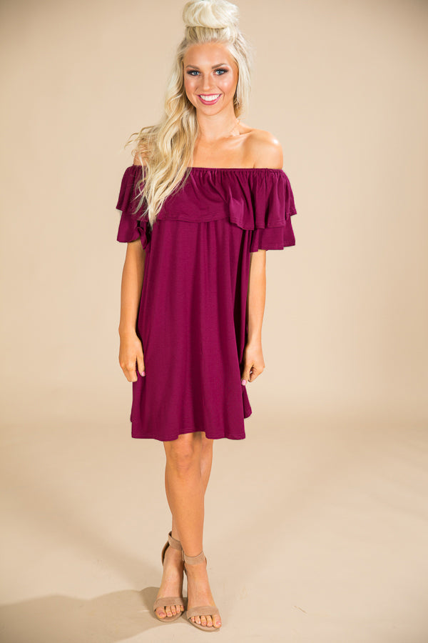 Patio Sippin' Off Shoulder Shift Dress in Sangria