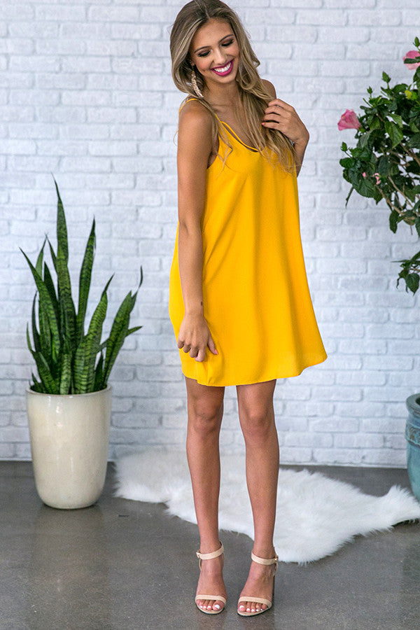 Watch Party Shift Dress in Marigold