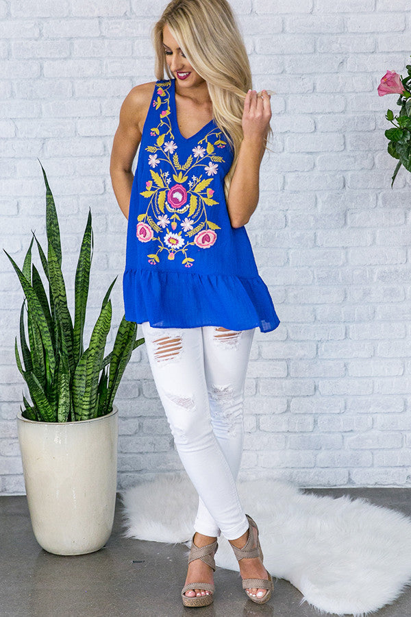 Margaritas At Midnight Embroidered Tank  in Royal Blue