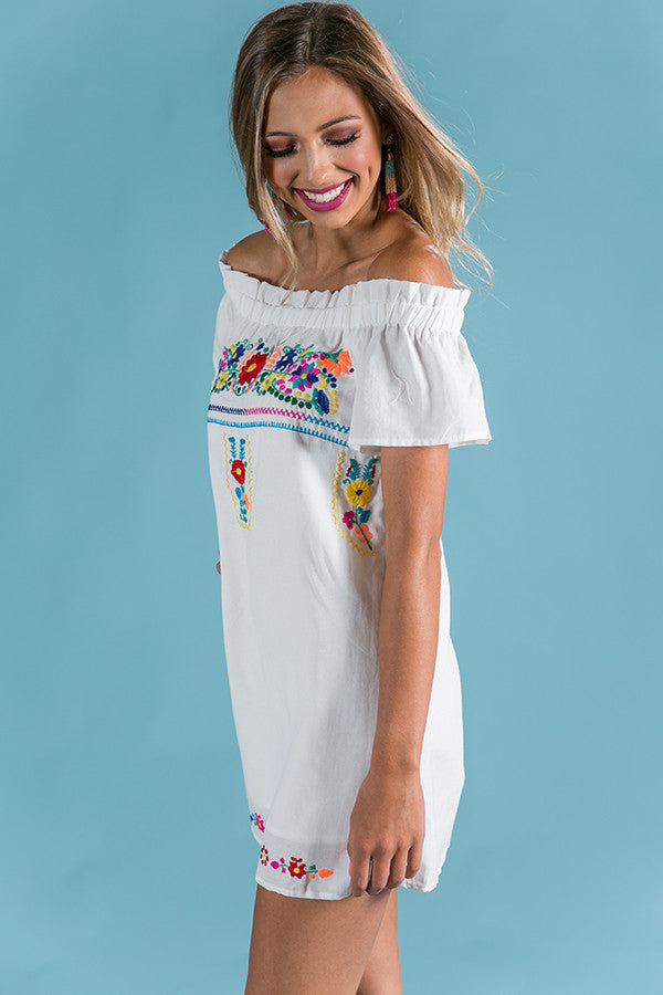 Cocktail Please Embroidered Shift Dress