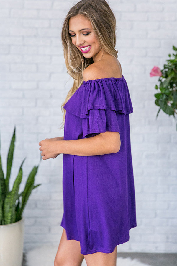 Patio Sippin' Off Shoulder Shift Dress in Purple