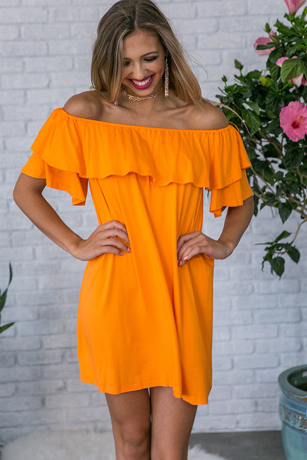 Patio Sippin' Off Shoulder Shift Dress in Persimmon