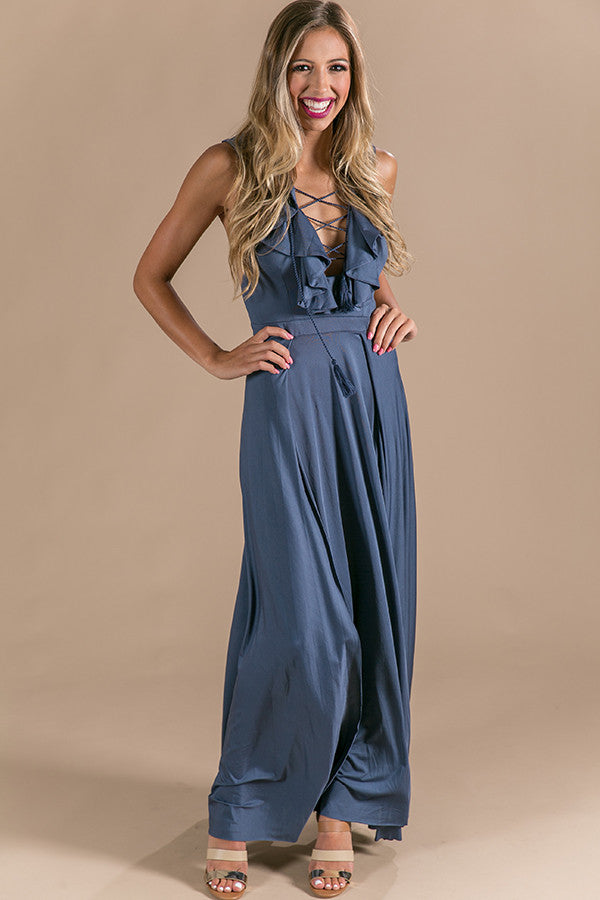Slow Dance With Me Lace Up Maxi in Slate
