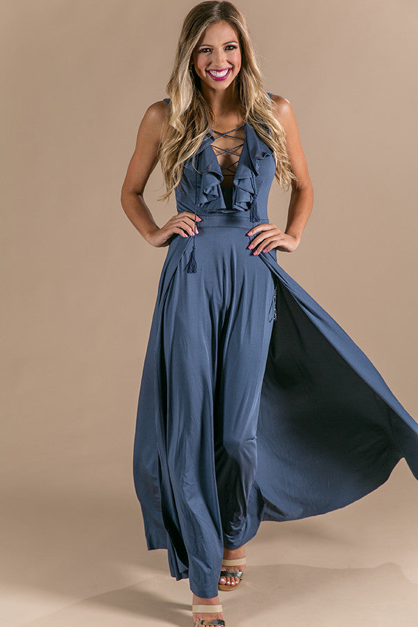 b4c97b80a Slow Dance With Me Lace Up Maxi in Slate • Impressions Online Boutique