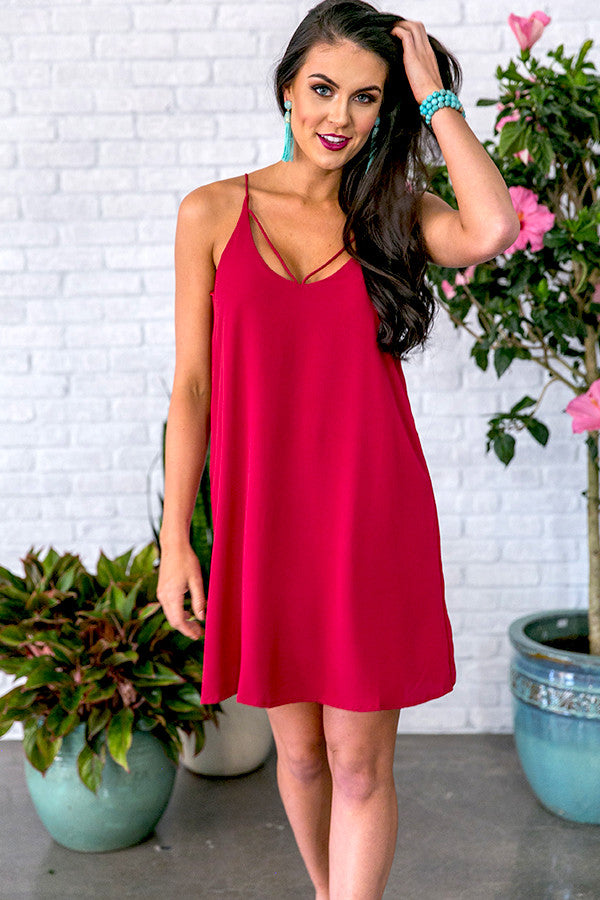 Watch Party Shift Dress in Crimson