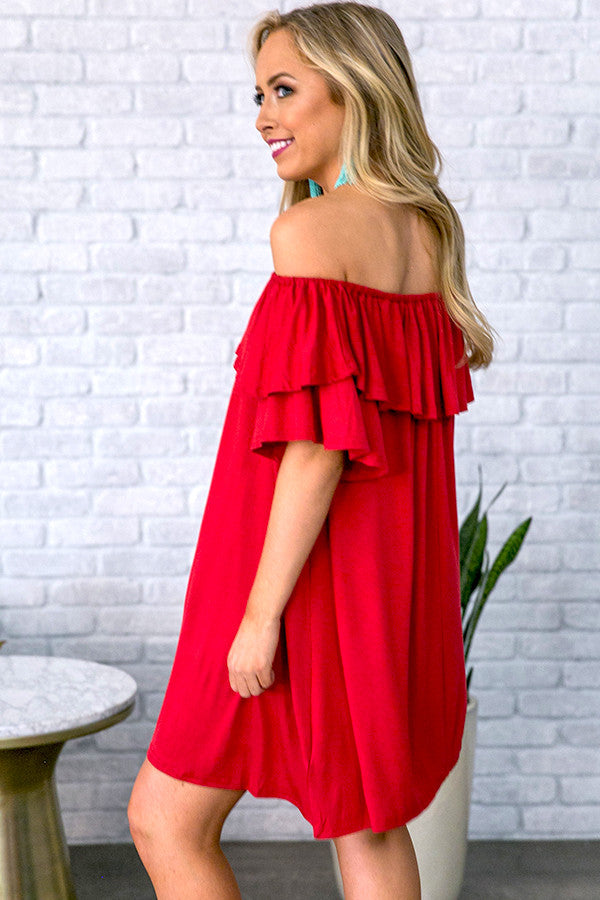 Patio Sippin' Off Shoulder Shift Dress in Red