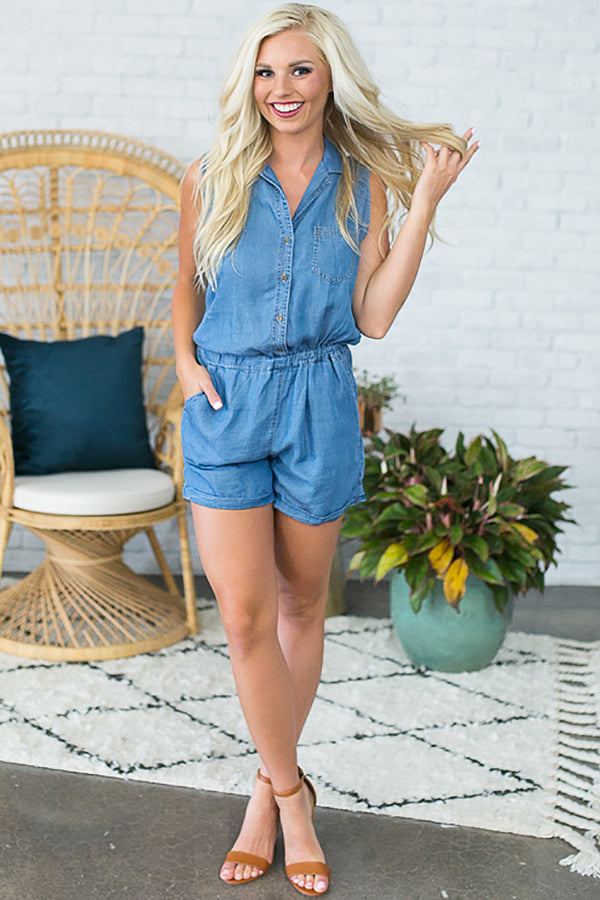 Sweeter In Chambray Romper
