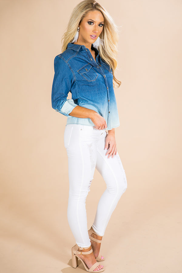Ombre All Day Chambray Top
