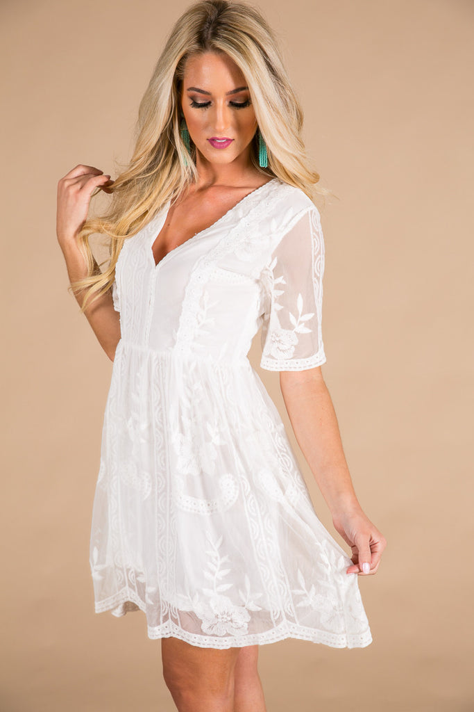 Lovely In London Lace Dress in White