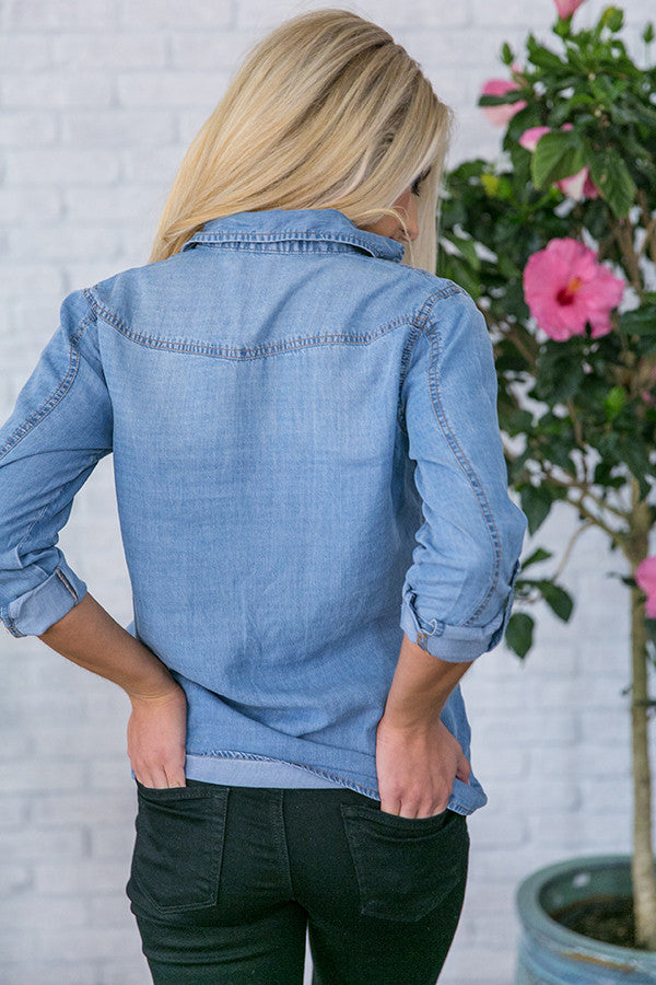 Best Of My Chambray Lace Up Top