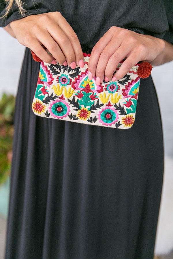 Beach Party Embroidered Bag