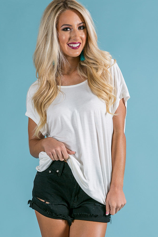 A Twist Like This Shift Tee in Ivory